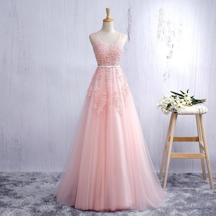 Pink V Neck Tulle Prom Dress, Open Back A Line Formal by lass on