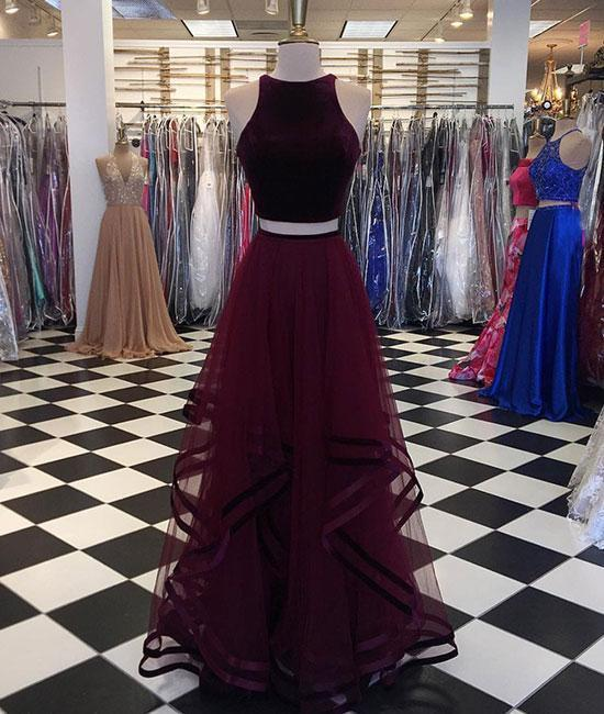Simple Two-Piece Burgundy Long Tulle Prom by prom dresses on Zibbet