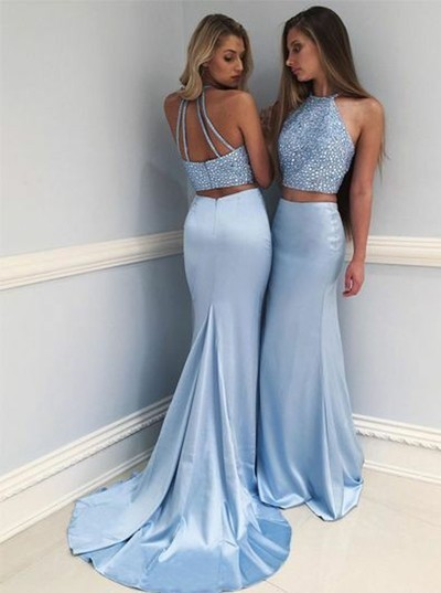 Eleg Glamour Two-Piece Round Neck Sweep Train Blue Prom Dress with Beading 2018