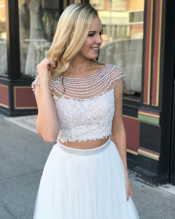 White Two Piece Lace Long Prom Dress,Floor by prom dresses on Zibbet