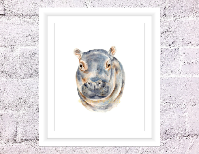 Hippo Print, Baby Hippo Gifts, African Animal Print, Hippopotamus Decal, Safari