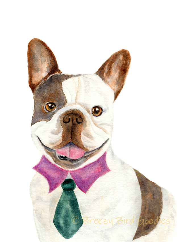 French Bulldog Print, French Bulldog Gifts, Watercolor Dog, French Bulldog in