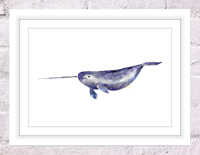Narwhal Print, Narwhal Gift, Narwhal Decal, Watercolor Narwhal, Sealife Print,