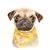 Pug Print, Watercolour Pug, Pug in Scarf, Pug Illustration, Dog Portrait,