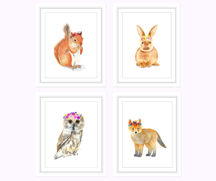 Flower Crown Woodland Animals Set Of 4 Prints Watercolour