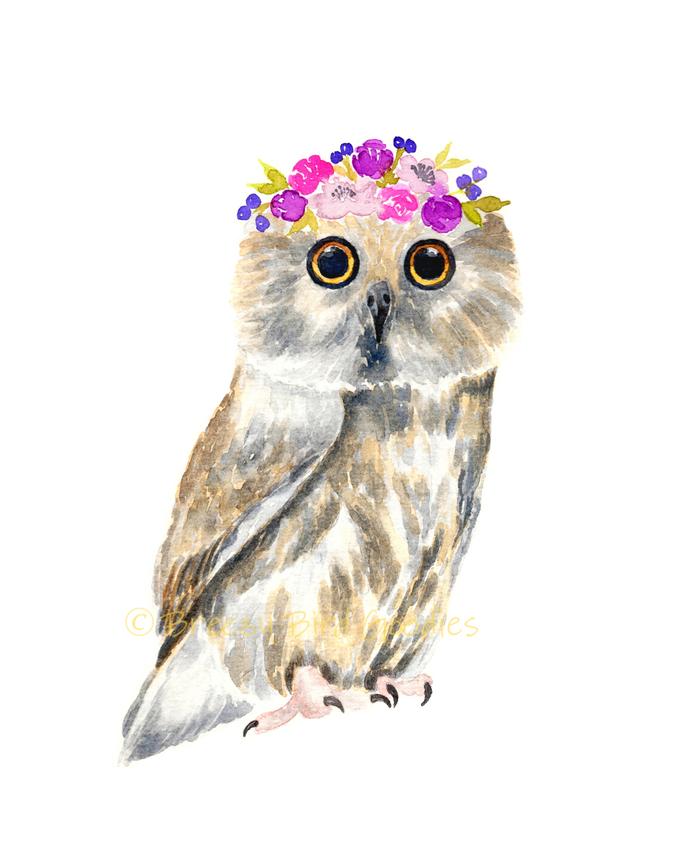 Flower Crown Woodland Animals, Set of 4 Prints, Watercolour Woodland Animals,