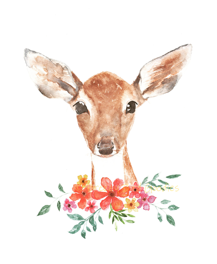 Fawn in Field Print, Watercolor Deer Print, Art for Home, Girls Room Decor,