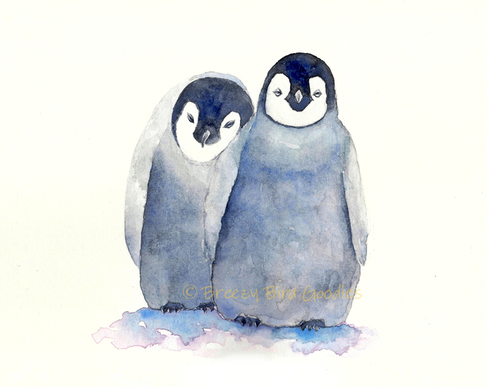 Loving Penguins Print, Baby Penguins Print, Watercolor Penguins, Nursery Penguin