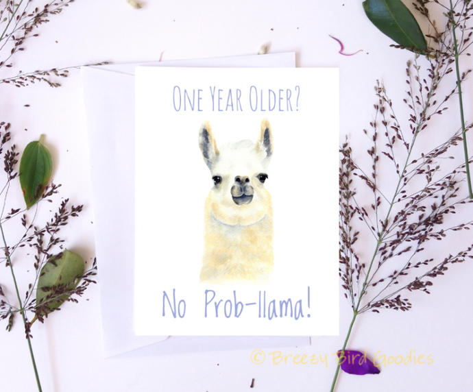 Llama Birthday Card One Year Older By Breezy Bird Goodies On