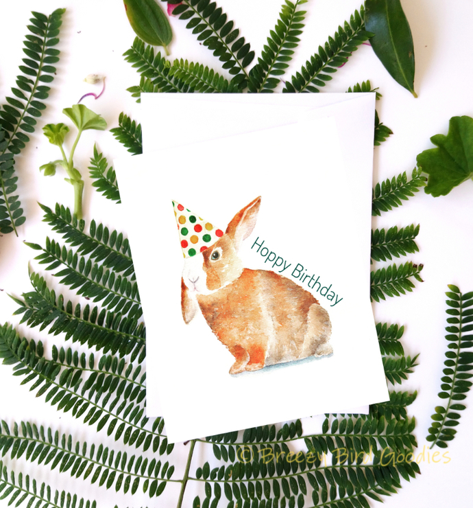 Bunny In Party Hat Card Prints Happy Birthday Cards Watercolor