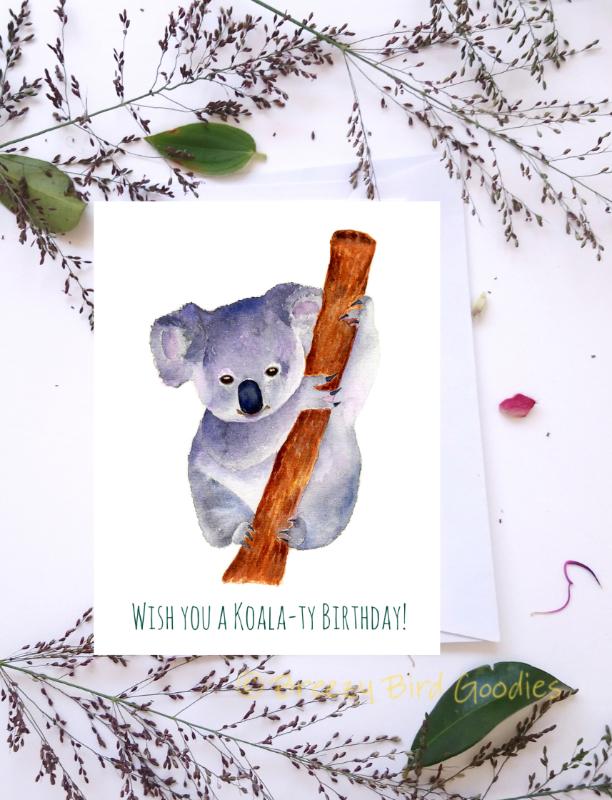 Koala Birthday Card Wish You A By Breezy Bird Goodies On Zibbet