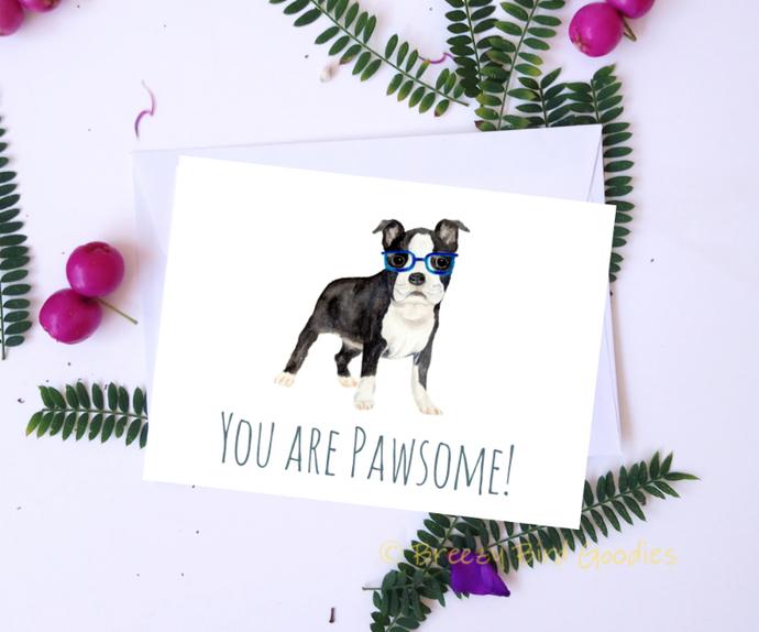 Boston Terrier Card Watercolor Dog By Breezy Bird Goodies On Zibbet
