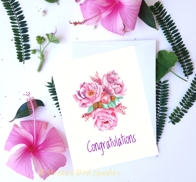 floral congratulations card watercolour flower print peony bouquet card peony