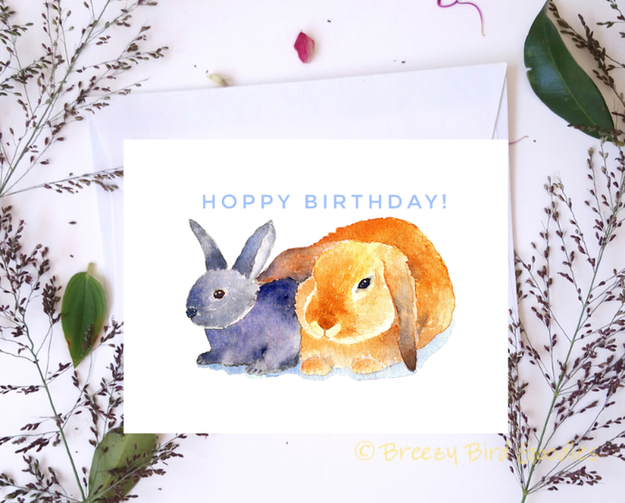 Loving Bunnies Birthday Card Bunny By Breezy Bird Goodies On Zibbet
