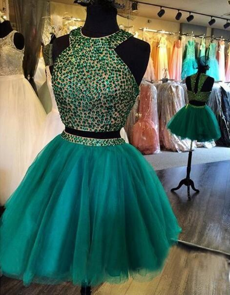 06fe734cd337 A Line Two Piece Halter Beading Homecoming Dress,Tulle Party Dress,Green  Cute