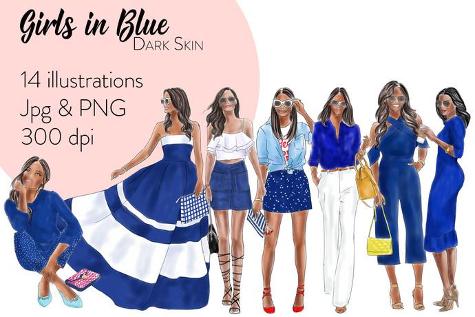 Girls in Blue - Dark skin, Watercolour fashion illustration clipart