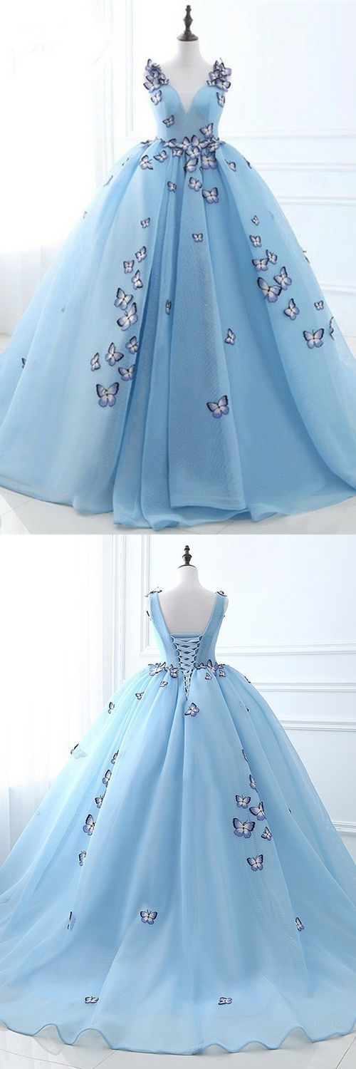 Ball Gown Deep V-Neck Court Train Blue Tulle Prom Dress with Appliques