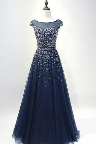 Dark blue tulle sequins round neck full-length prom dresses, A-line evening