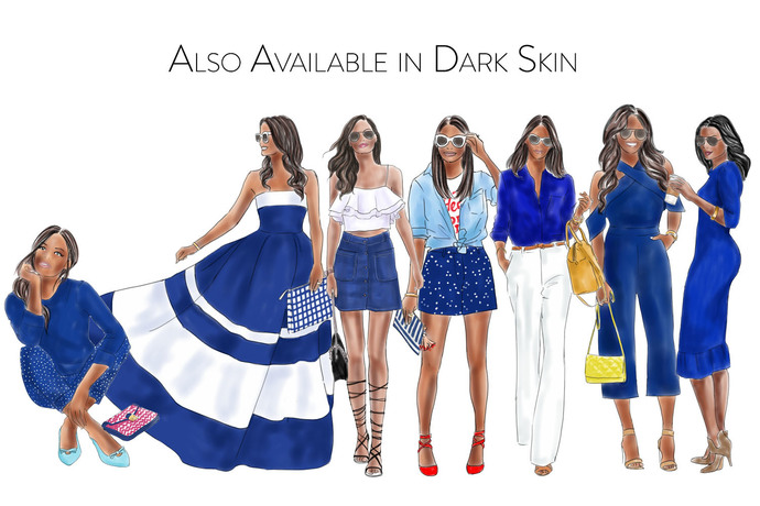 Girls in Blue - light skin,  Watercolour fashion illustration clipart