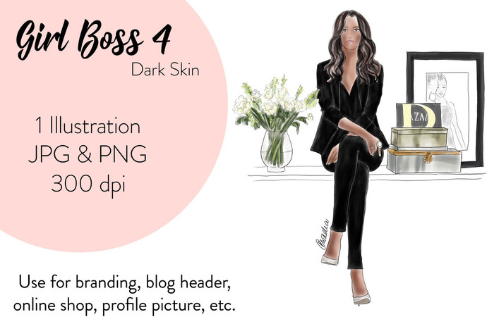 Girl Boss 4 - Dark Skin, Watercolour fashion illustration clipart
