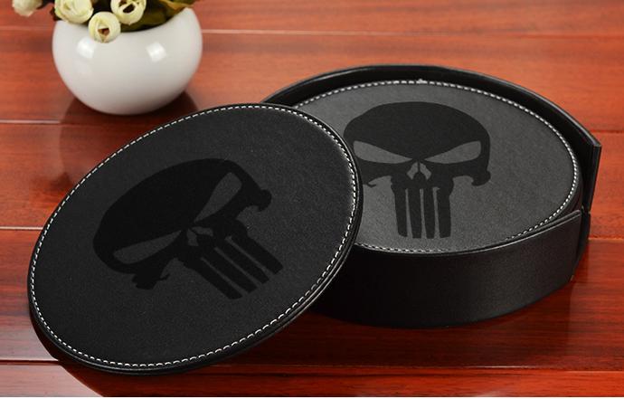 Punisher Set Leather Drink Coasters
