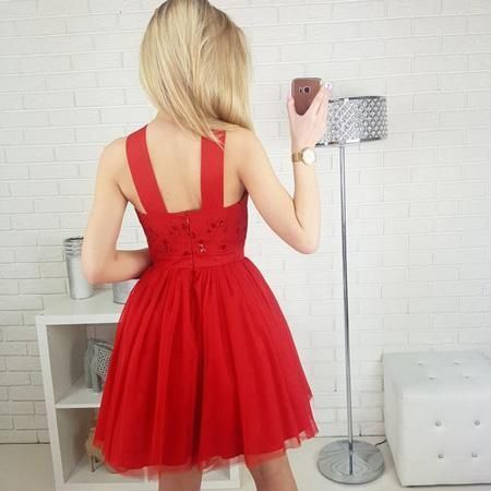 Cute A-Line Straps Red Homecoming Dresses,Sleeveless Short Prom Dress With