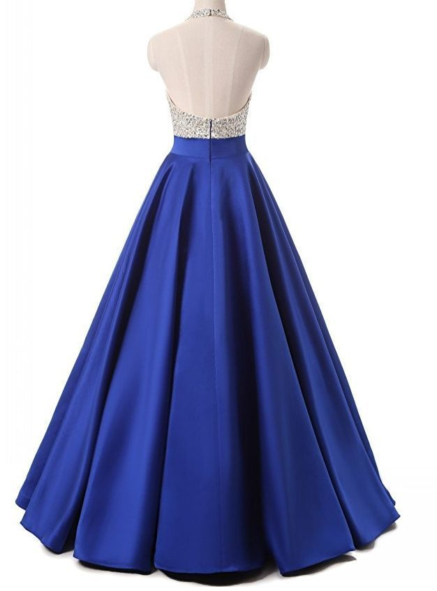 High Quality Purple Satin Beaded Long Prom Dresses Evening Gowns