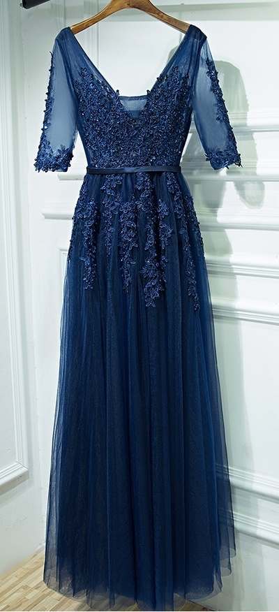 Dark Blue Prom Dress with Sleeves, Prom Dresses,Graduation Party Dresses, Prom