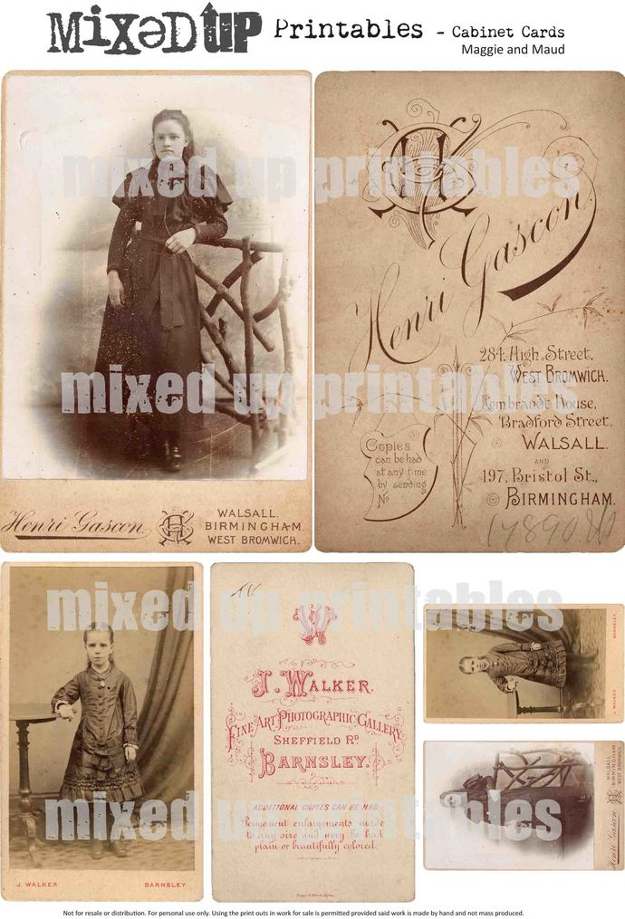 Mixed Up's Cabinet Card Printables - Maggie and Maud