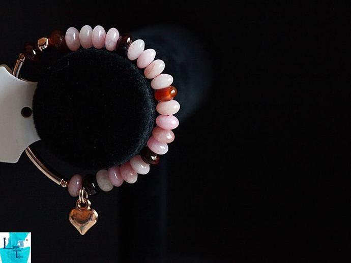 Gold Sugar and Spice Pink Aventurine rondelle stretch Bracelet.