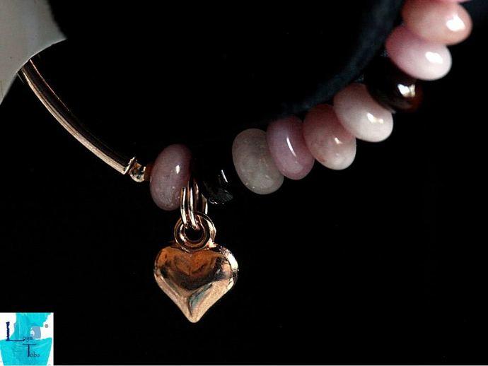 Silver Sugar and Spice Pink Aventurine rondelle stretch Bracelet.