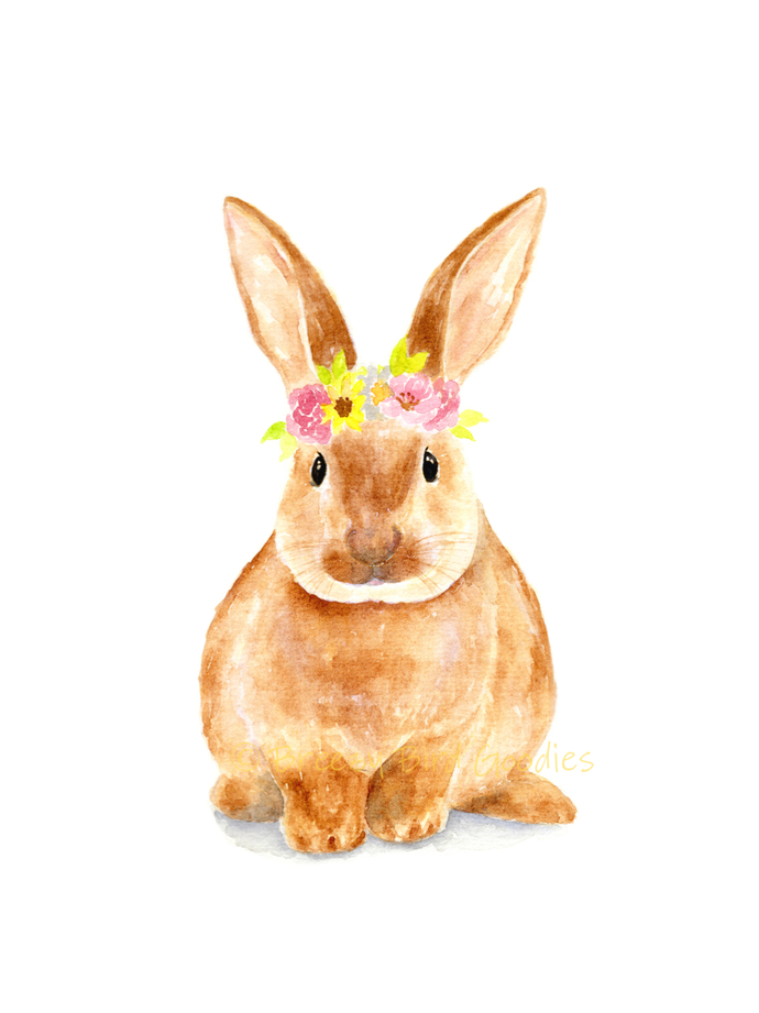 Bunny with Flower Crown Print, Watercolor Bunny, Nursery Rabbit, Bunny