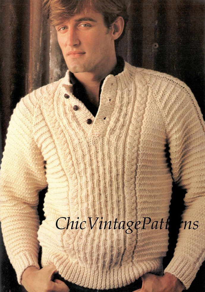 Mens Knitted Sweater Digital Pattern By Chicvintagepatterns On Zibbet
