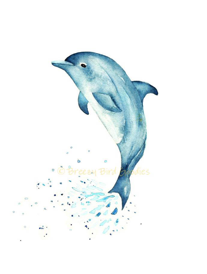 Blue Dolphin Print