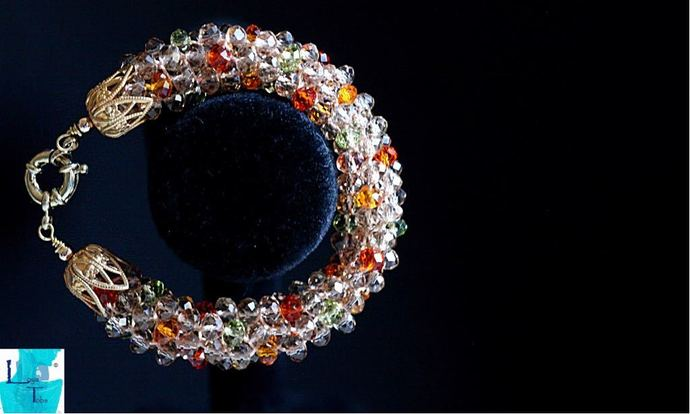 Springtime. Kumihimo Beaded bracelet