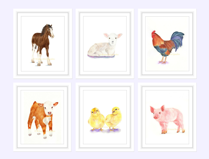 Farm Animals Set of 6 Prints, Watercolor Farm Animals, Select 6 Prints, Nursery