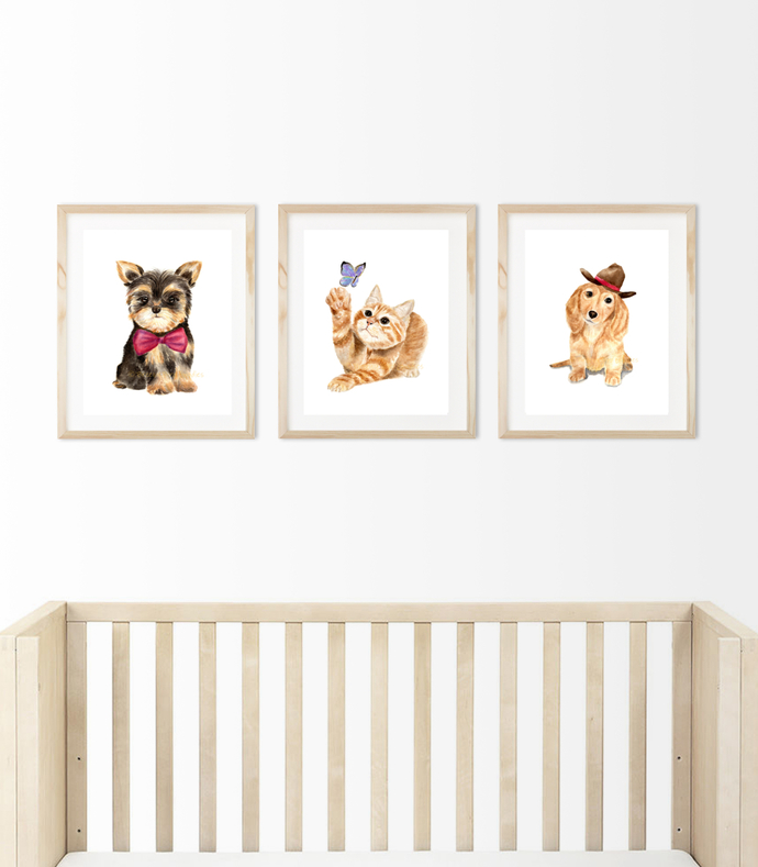 Nursery Animals, Nursery Wall Art, Nursery Animal Prints, Baby Nursery Wall Art,