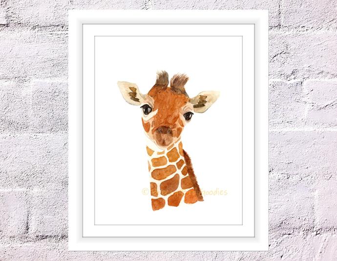 Keeley The Giraffe Print, Watercolour by Breezy Bird Goodies on Zibbet