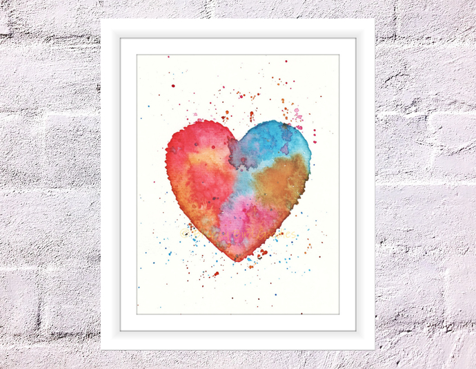watercolour heart print colourful by breezy bird goodies on zibbet