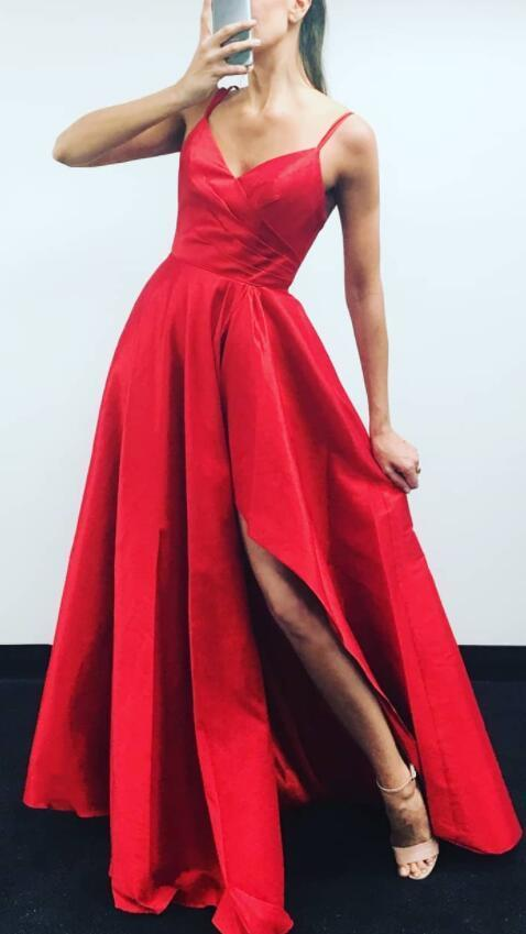 A Line Prom Dress Red