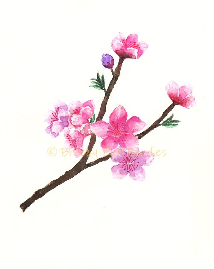 Set of 2 Cherry Blossoms Print, Watercolor Blossoms, Watercolor Sakura Flowers,