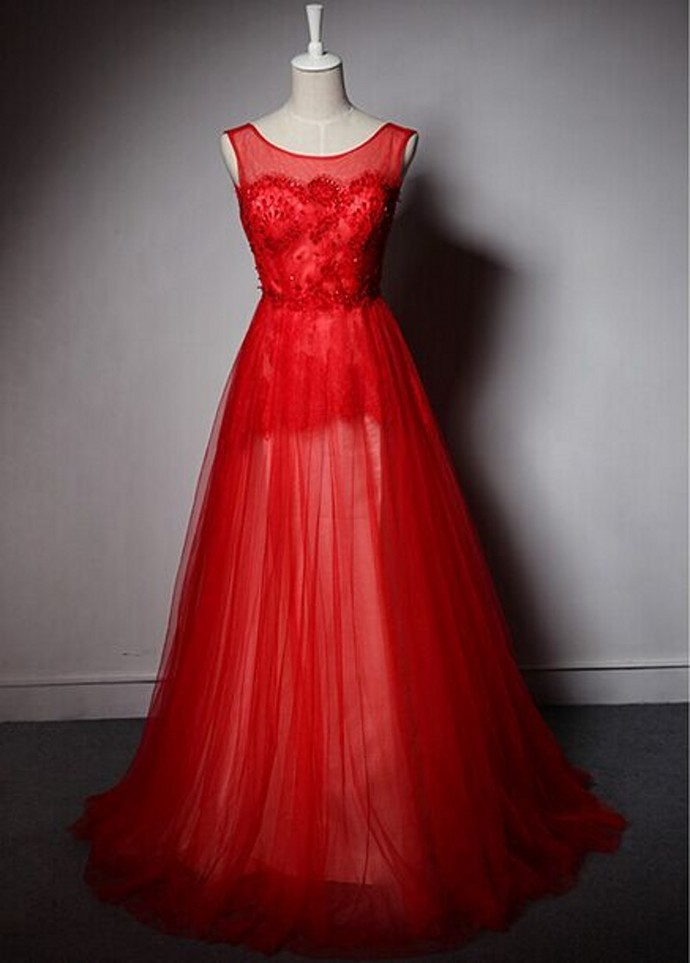 Custom Made Red Prom Dress, A-Line Prom Dress,Tulle Prom Dress, Scoop Prom