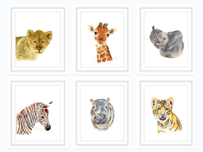 Safari Nursery Prints Set Of 6 By Breezy Bird Goodies On