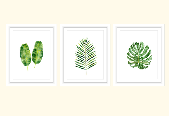 Tropical Set Of 3 Prints, Tropical Wall Art, Set Of 3 Wall Art,
