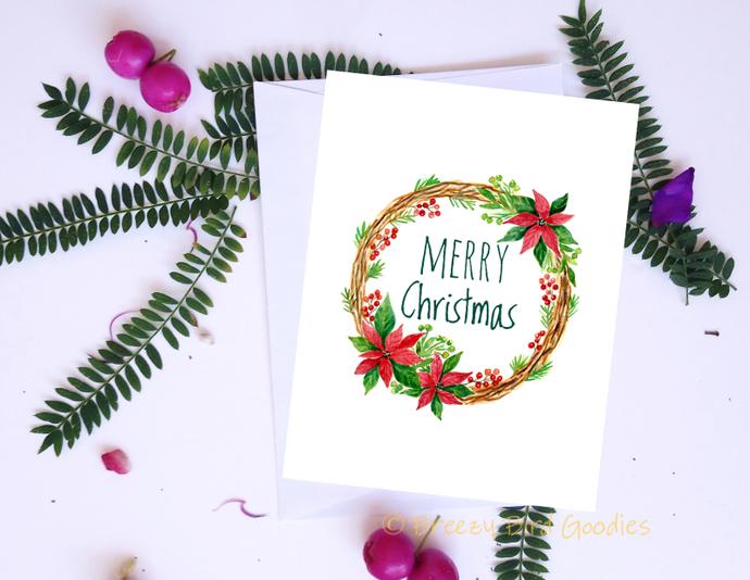 Christmas Wreath Card Watercolour By Breezy Bird Goodies On Zibbet