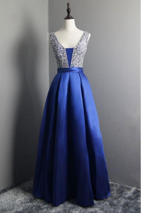 e268675449f 2017 Royal Blue Prom Dress Elegant V Neck Evening Dresses Beaded Satin Party