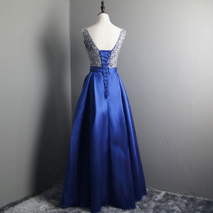 Royal Blue Prom Dress Elegant V Neck Evening Dresses Beaded Satin Party Dresses