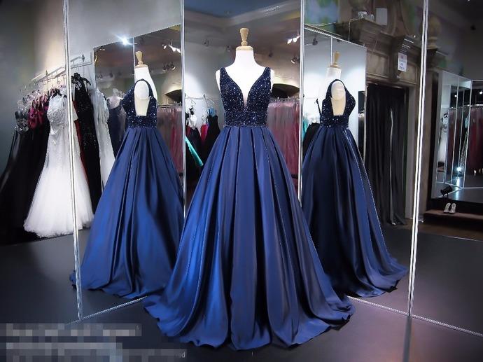Crystal Prom Dress, Deep V Neck Prom Dress, Navy Blue Prom Dress, Satin Prom