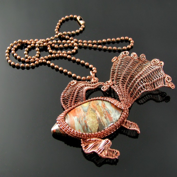 Wire woven fantail goldfish pendant with jasper