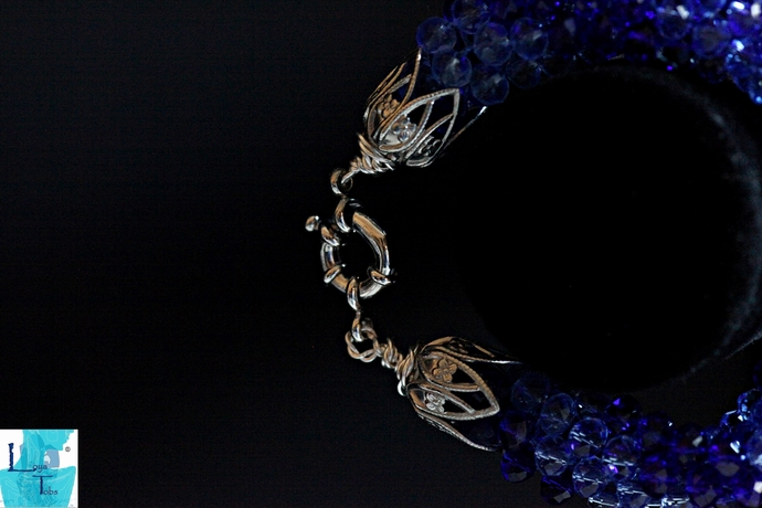 Two Blue Kumihimo Beaded Bracelet